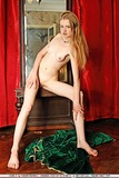 Skinny shaved girl with long red hair and tiny tits nude