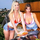 2 stacked big tits hot bikini babes fuck eachother in this wet soapy car wash lesbian hot pic set