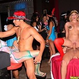 Smoking hot long leg bikini blonde strips and gets fucked in these afterhour club fucking group sex pics