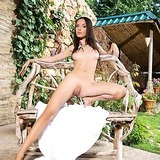 babe, pussy, shaved , brunette, long hair, outdoors