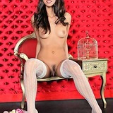 Pussy shots of this firm brunette babe in stockings