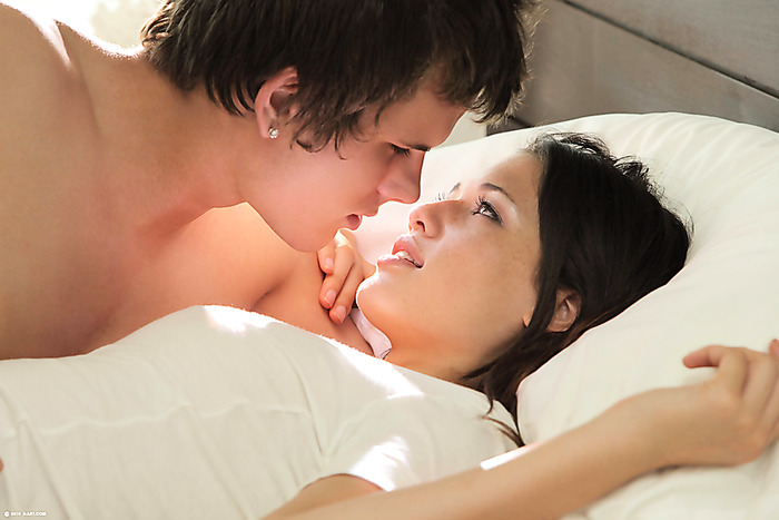 Incredibly cute teen girl making love to her BF