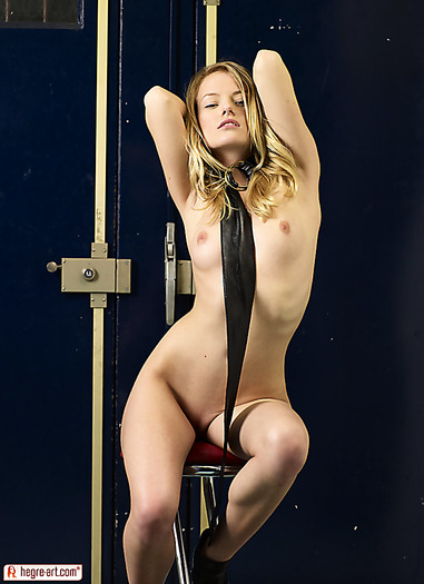 Tiny naked young blondie coming to you on a leash