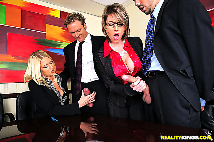2 hot ass big tits boss babes get fucked in their asses in this hot office fucking orgy