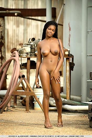 Busty ebony amateur beauty naked outdoors
