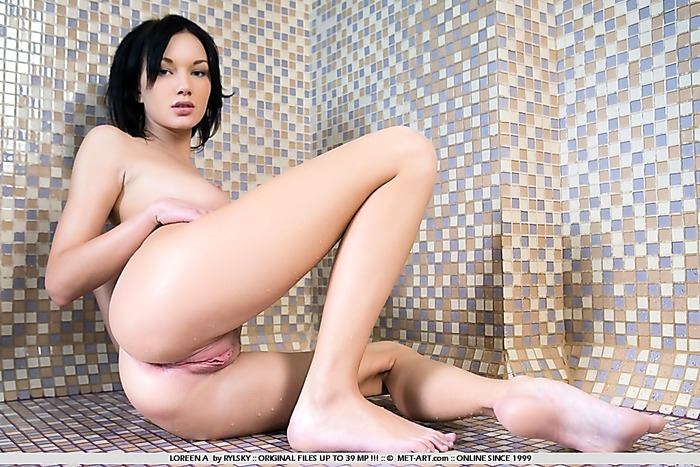 Short hair babe with pale skin spreads her pussy for you