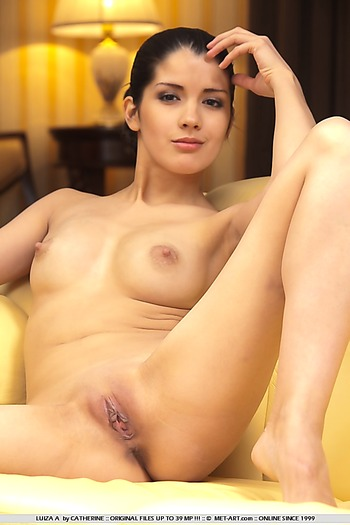 Shaved babe with small tits and hard nipples indoors.