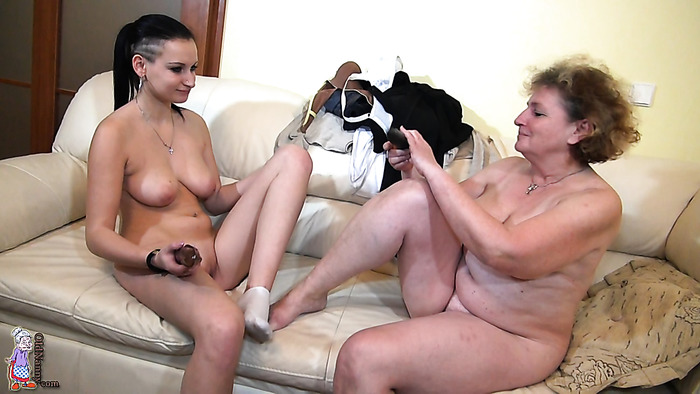 Younger lesbian teens and grandmas in hardcore and lesbian action